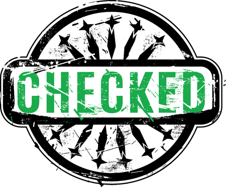 certify: Checked Rubber stamp with grunge texture for your design. See other rubber stamps in my portfolio. Stock Photo