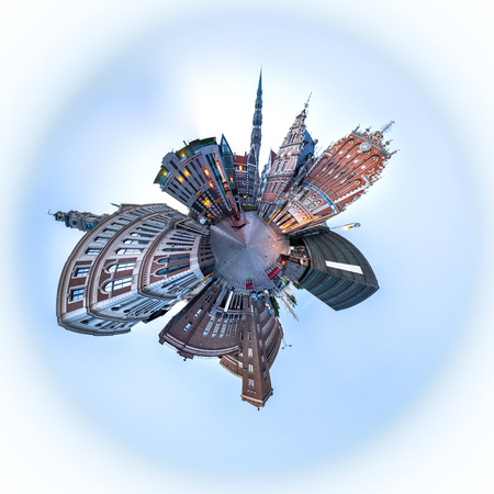 overpopulated: 360 degree Tiny planet Skyline view of Riga old town Dome Square During Dawn time. Montage from 47 HDR images