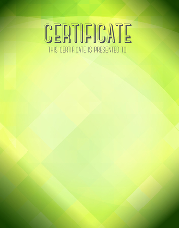 course: Certificate template with green background. Stock Photo