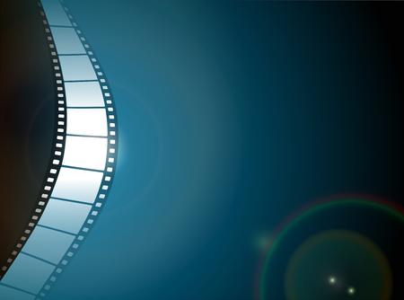 rollo pelicula: El cine o la tira de la película de la foto con reflejo en la lente sobre fondo oscuro Vectores