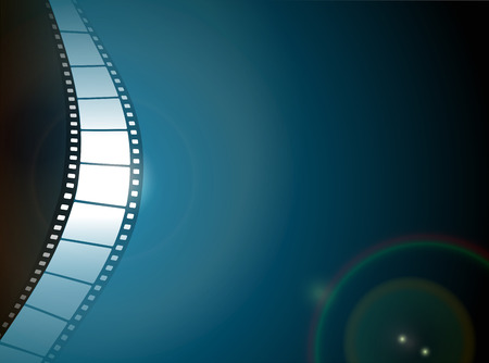 Cinema or Photo film strip with lens flare on dark background.