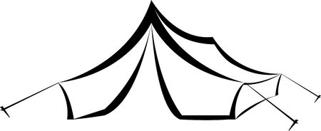 hiking: Hiking and Camping Triangle Canvas tent. illustration.