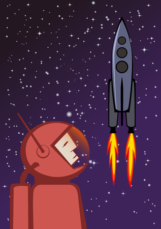 spacesuit: illustration of heroic astronaut in red spacesuit and flying space rocket. Stock Photo