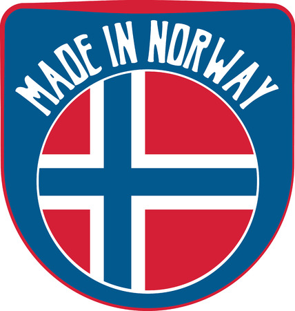 norwegian flag: Made in Norway badge sign. Vector illustration