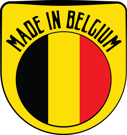 made manufacture manufactured: Made in Belgium badge sign. Vector illustration Illustration