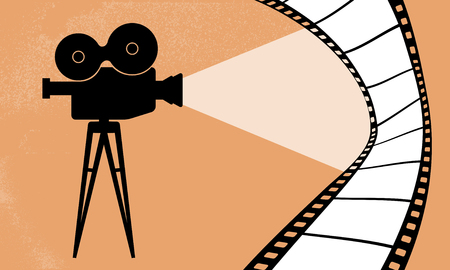 35mm film motion picture camera: Cinematography camera and cinema movie vector illustration Stock Photo