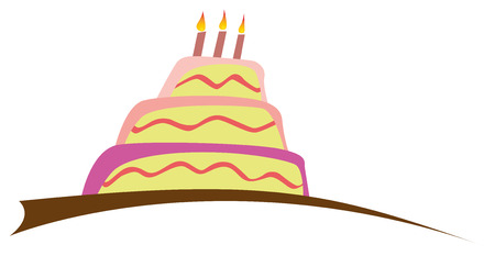 cake with icing: Large Birthday cake with three candles. Vector illustration