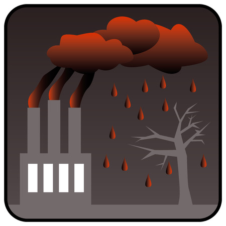 kwaśne deszcze: Environment Polluting Factory with three chimneys generating toxic air pollution and Acid Rain. Vector illustration Zdjęcie Seryjne