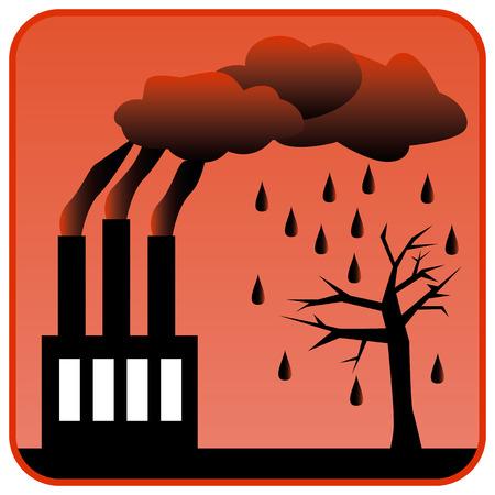kwaśne deszcze: Fabryka zanieczyszczających środowisko z trzema kominami wytwarzających toksyczne zanieczyszczenia powietrza i kwaśne deszcze. ilustracji wektorowych