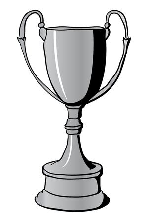 metal drawing: Silver Winners Trophy Cup. Hand drawn vector illustration with black contours