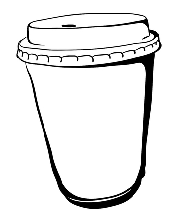 take away: Disposable Take away Coffee paper cup. Vector illustration
