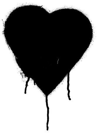 inkblot: Black paint graffiti heart shape
