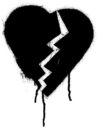 heart broken: Broken heart shape. Black paint graffiti vector illustration