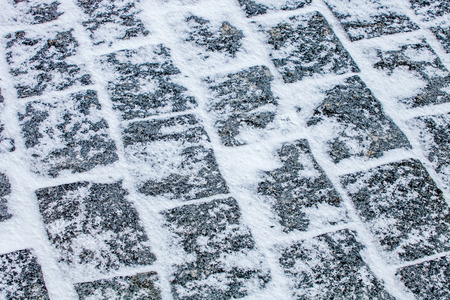 pavement: Sidewalk Cobblestone pavement covered with snow and ice Stock Photo