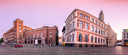 techical: City Hall Square with City Hall and Techical university central building in Riga Old Town