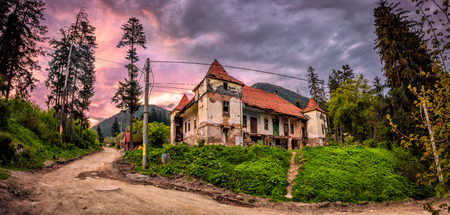 abandoned city: Old building ruins in small romanian village Stock Photo
