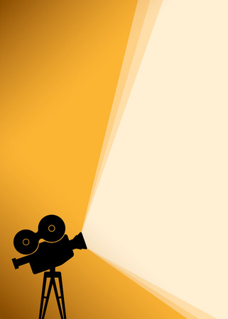 Cinema poster background with black Silhouette of camera or projector with yellow light rays. Illustration Vettoriali