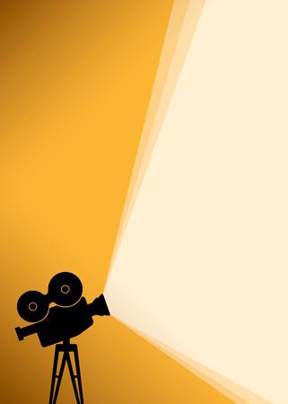 Fondo del cartel de cine con la silueta del negro de la cámara o proyector con los rayos de luz de color amarillo. Ilustración