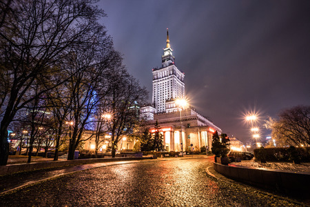 popular science: Night view of Warsaw Palace of Culture and Science, Poland Editorial
