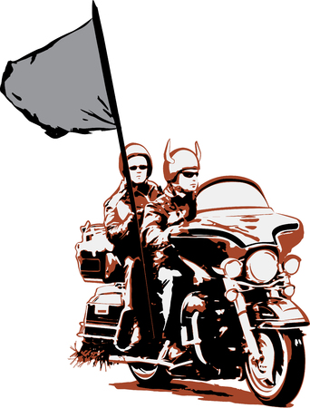 parade: Couple riding motorcycle with flag. Vector illustration