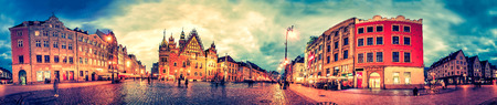 rynek: Wroclaw Market Square with Town Hall during sunset evening, Poland, Europe. Panoramic montage from 27 HDR Photos with post processing effects