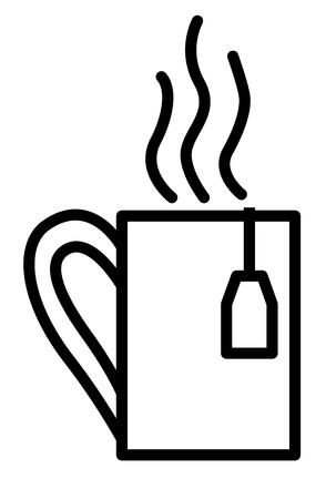 steamy: Steamy Tea Cup with teabag label Thin Line Linear Icon. Vector illustration