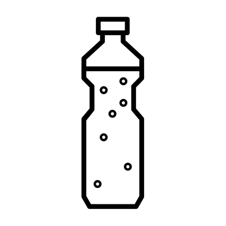 water icon: Plastic bottle with drinking water or other liquid. Flat linear vector icon
