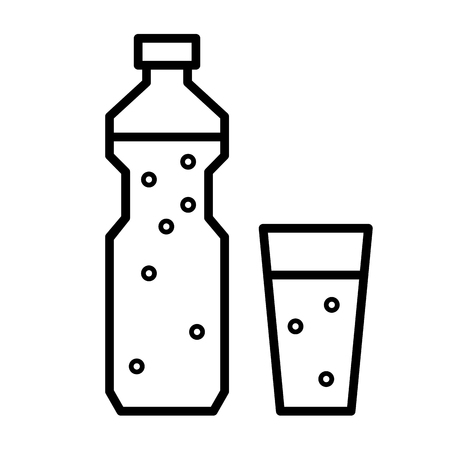 water icon: Plastic bottle and glass with drinking water or other liquid. Flat linear vector icon Stock Photo