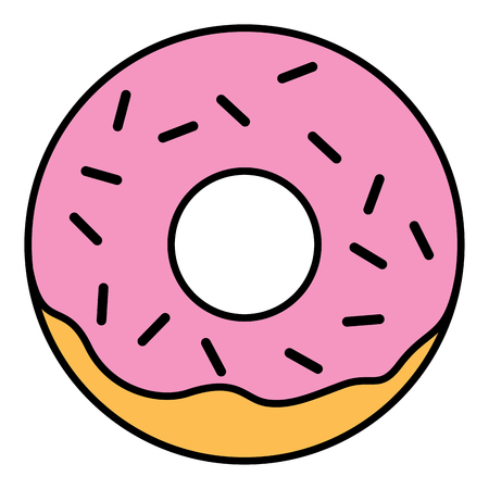 cake with icing: Pink glazed ring doughnut with sprinkles. Thin line linear vector illustration Illustration