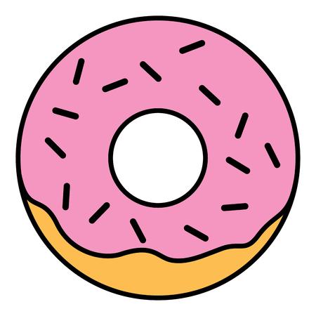 glazed: Pink glazed ring doughnut with sprinkles. Thin line linear vector illustration Stock Photo