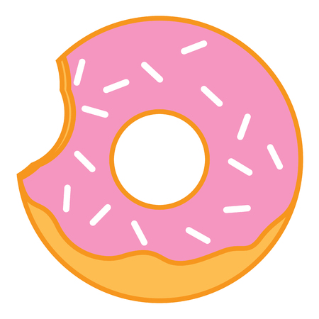cake with icing: Bitten Pink glazed ring doughnut with sprinkles. Thin line linear vector illustration