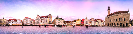 Sunset Skyline of Tallinn Town Hall Square or Old Market Square, Estonia. Panoramic montage from 24 HDR images Stock Photo