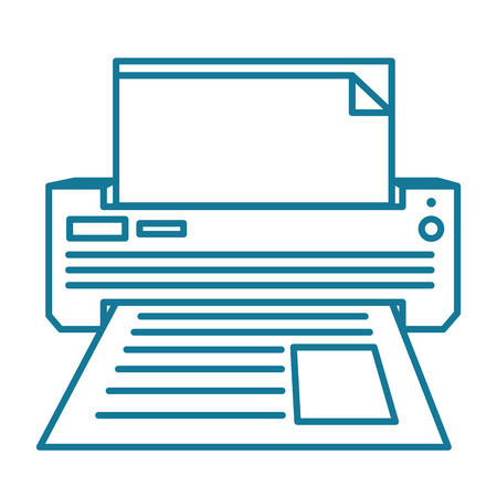 desktop printer: Printer or fax machine with half printed page. Linear vector illustration