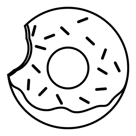 Bitten Pink glazed ring donut with sprinkles. Thin line linear vector illustration