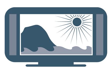 hdtv: Wide screen flatscreen 4k TV with ocean scenery. Vector illustration