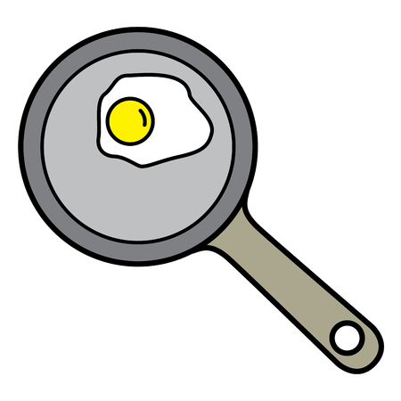 raw egg: Top view of Fried egg on pan. Linear thin line vector illustration