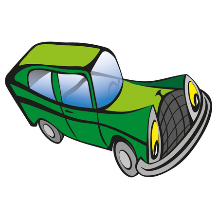 smiley face car: Funny old car cartoon. Vector illustration