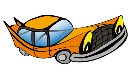 smiley face car: Funny old retro car cartoon. Vector illustration EPS10