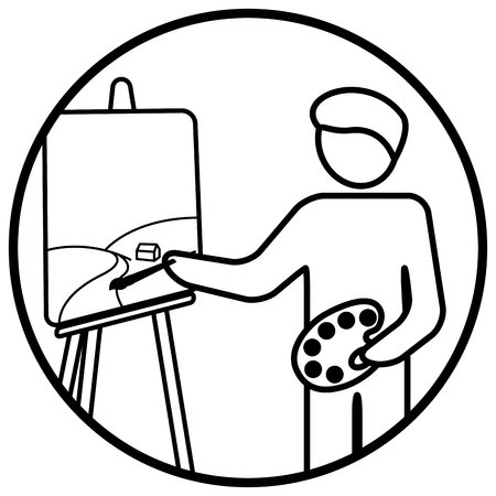 Painter working on his masterpiece. Linear vector illustration
