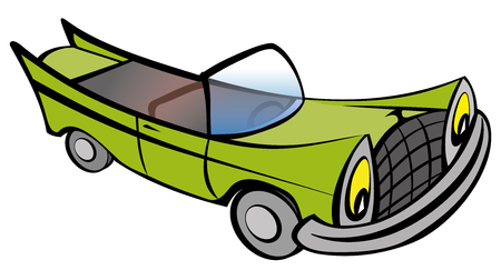 Funny old retro convertible car cartoon. Vector illustration EPS10