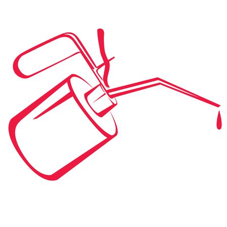 Lata de aceite rojo o engrasador con bomba de botón. Ilustración vectorial