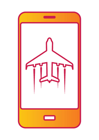 mobile cellular: Modern Touch screen cellular phone with flight mode sign on screen. Vector illustration Stock Photo