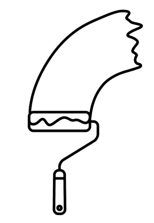 paintroller: Paint Roller with paint trace. Linear thin line vector illustration
