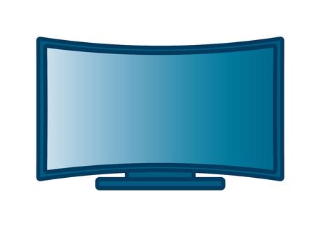 Curved Flat Screen Smart TV. Linear thin lien vector illustration Illustration