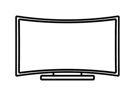 digital media: Curved Flat Screen Smart TV. Linear thin lien vector illustration Stock Photo