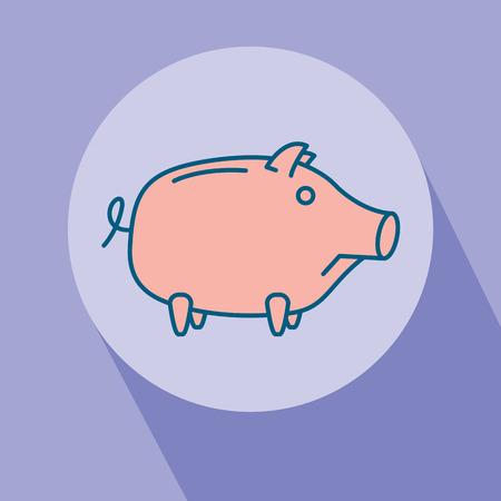Sad Piggy bank or money box symbol. Thin line linear vector illustration Stock Photo