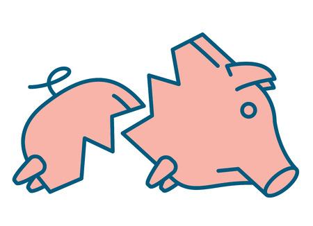 Sad broken Piggy bank or money box symbol. Thin line linear vector illustration Illustration