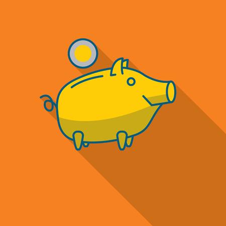 money symbol: Happy Piggy bank or money box symbol. Thin line linear vector illustration Illustration