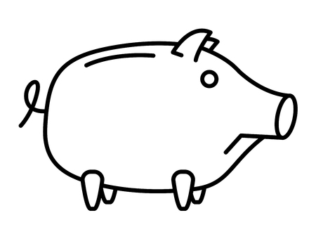 money symbol: Piggy bank or money box symbol. Thin line linear vector illustration
