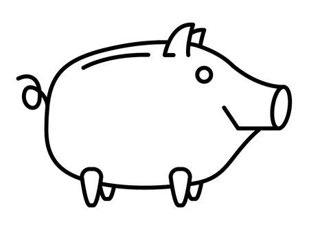 money symbol: Happy Piggy bank or money box symbol. Thin line linear vector illustration Stock Photo